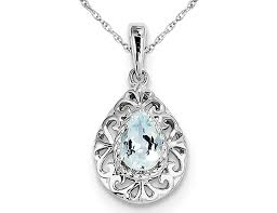 sterling silver aquamarine drop pendant necklace with chain 1 2 carat ctw 0