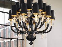 black glass modern murano chandelier with black lampshades dmmadml20k