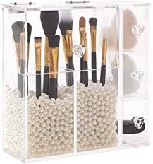 PuTwo Makeup Organizer With 2 Make Up Brush Holders and 3 Drawers All In  One Case