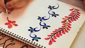 Saree Border Designs Images One Stroke Border Designs Using Round Brush For Sarees Kurtis Blouses Fabric Painting Designs