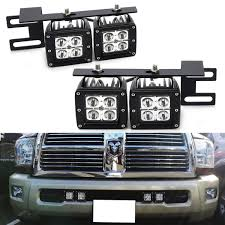 Ram 2500 Fog Light Bumper Dual Led Pod Light Fog Lamp Kit For 2010 18 Dodge Ram 2500 3500 Includes 4 20w Cree Led Cubes Lower Bumper Area Mounting Brackets Wiring Switch