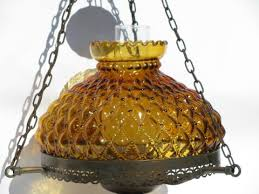 vintage farmhouse lighting. Vintage Farmhouse Lamp Hanging Light, Fenton Amber Glass Shade Lighting