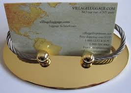 desktop business card holder gold tone