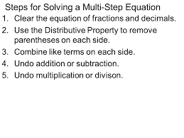 5 steps for solving a multi step equation