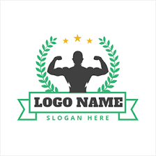 yellow star and strong sportsman logo design
