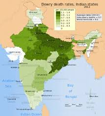 gender inequality in  dowry death rates per 100 000 people map for n states and union territories in 2012