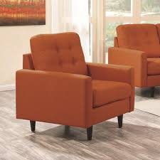 Upholstered Living Room Chairs Coaster 505373 Kesson Mid Century Orange Fabric Upholstered Living