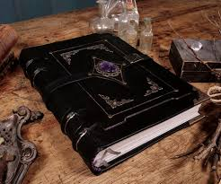 picture of black magic leather grimoire bookbinding tutorial