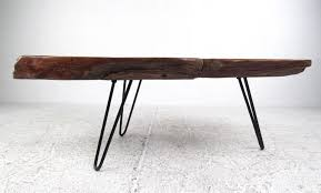 mid century modern rustic modern free edge tree slab coffee table on hairpin legs for