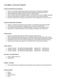 Resume Examples Example Cv Template For Personal Statement With 25