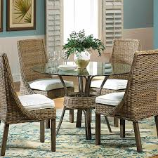 Panama Jack Exuma Round Glass Casual Dining Table and Chairs