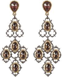 alexis bittar crystal studded gold plated lace chandelier earring