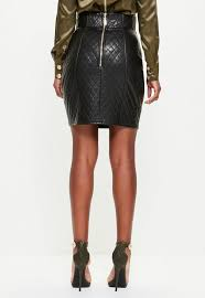 Peace + Love Black Quilted Faux Leather Mini Skirt | Missguided & Previous Next Adamdwight.com