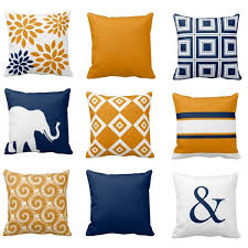 Orange And Blue Decorative Pillows