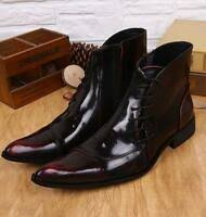 Boots <b>Mens</b> Round Toe Lace Up High Top Combat <b>PU Leather</b> ...