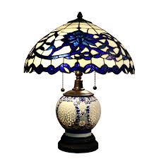 Discount Tiffany Style Lighting Tiffany Style Table Lamps Ireland 3 Light Blue Glass Inch
