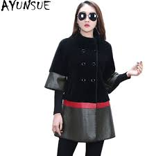 ayunsue real fur coat female natural wool fur coats pu leather jacket patchwork jackets for women