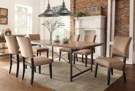 Classic Upholstered Dining Chairs With Wooden Table In Industrial Fabric Type For Dining Room Chairs