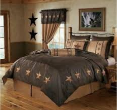 Beautiful Laredo Star Western Cowgirl Or Cowboy Bedding And Comforter Set Collection  In Chocolate Brown And Tan