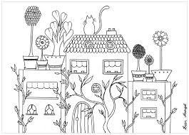 Coloring book page for adults and children. House And Flowers Architecture Adult Coloring Pages