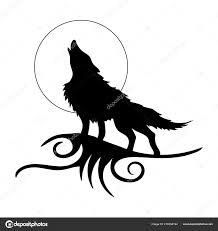 рисунок волка виде татуировки белом фоне векторное изображение
