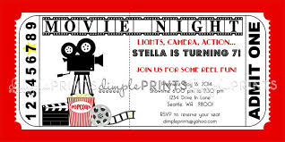 Invitation Ticket Template Unique Movie Ticket Printable Birthday Invitation Backyard Movie Party