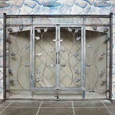 pilgrim leaf vine fireplace screen with doors