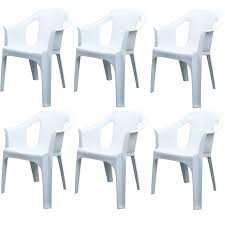 white stackable plastic chairs. Resol Cool Garden / Indoor Plastic Chair - White Pack Of 6 Chairs Stackable H