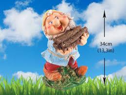 large garden gnome dwarf statue wood