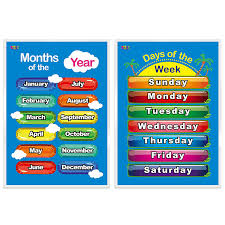 Days Of The Week Months Of The Year 2 Laminated Educational Posters For Toddlers 17 X 22
