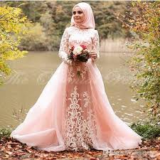discount blush pink muslim wedding dress with detachable train