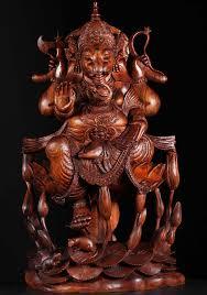 sold masterpiece wood ganesha on lotus pond 40