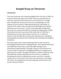 sample essay on terrorism sample essay on terrorism introduction terrorism has grown into a pertinent global factor that has an