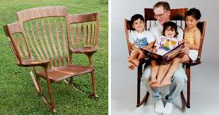 dad builds triple rocking chair so he could read to his 3 kids bored panda