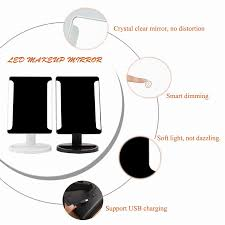 makeup light stand. adjustable 36 led light cosmetic square vanity desk stand makeup mirror + 10x magnifying round