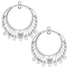 get ations sterling silver fine filigree hoop chandelier earring parts 37mm 1 pair