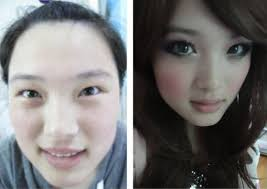 asian s with make up vs without make up