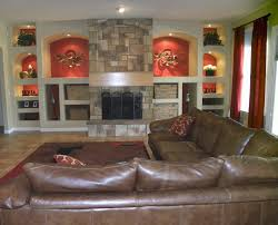Wall Covering For Living Room Entertainment Niche Living Room Contemporary With Brown Area Rug