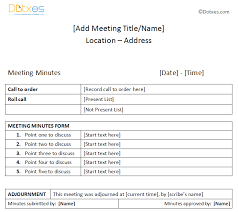 Meeting Minutes Examples Microsoft Office Templates
