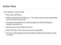 apa style 1 overview a few preliminaries organization of apa author note this appears on its own page