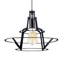 kiven vintage industrial hanging light black metal cage shade e26 pendant light mini adjule pendant lighting