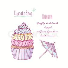 Hand Drawn Rainbow Cupcake With Doodle Stock Vector Colourbox
