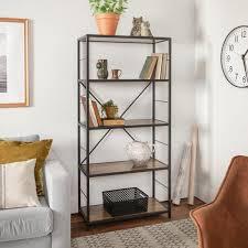 rustic oak rustic metal and wood media bookshelf