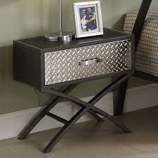 Black W/ Silver Drawer Nightstand Homehills Nightstands Nightstands Bedroom  Furniture