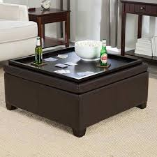 Captivating Full Size Of Coffee Tables:mesmerizing Coffee Table Black Bonded Leather  Ottoman Foot Tray Top ... Nice Look