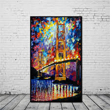 frameless huge wall art oil painting on canvas golden gate bridge home decor oil painting canvaspainting wall art with 8 75 piece on