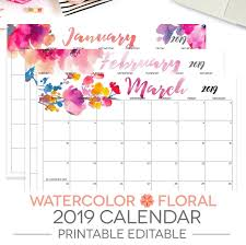 Calendar Year 2019 Printable 2019 Printable Calendar Editable 12 Month Letter Size Etsy