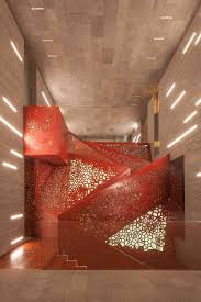 staircase lighting design. Copper Staircase, Villa Mallorca. Arup. Staircase Lighting Design