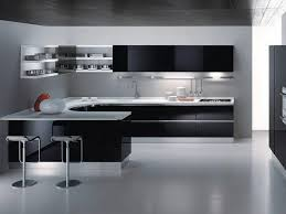 kitchen modern cabinets designs: incredible black modern kitchen cabinets with white countertop wallmounted shelves two stainless steel bar stools