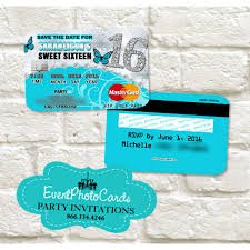 Credit Card Party Invitations Aqua Butterfly Sweet 16 Invitations Credit Card Sweet Sixteen